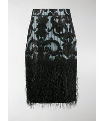 ganni feathery high-waisted striped skirt