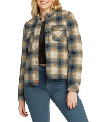 women's dickies plaid quilted shirt jacket, size x-large - blue