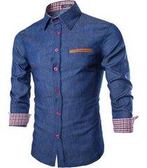 camisa slim fit denim - azul oscuro