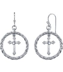 2028 silver tone suspended cross hoop drop earrings