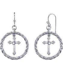 2028 silver tone suspended cross hoop drop earrings