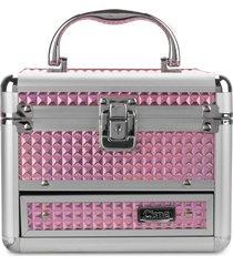 maleta de maquiagem cisne em alumínio 2 bandejas fucsia