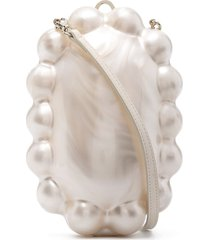 simone rocha faux-pearl shape clutch bag - neutrals