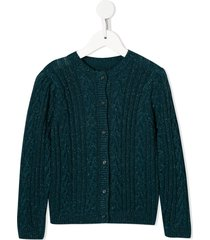 velveteen ava cable knit cardigan - blue