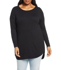 plus size women's caslon shirttail tunic, size 1x - black