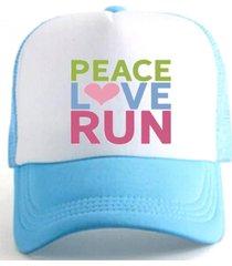 boné trucker corrida estampado snapback azul e branco - peace love run azul .