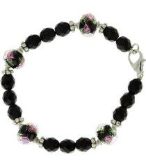 2028 silver-tone black floral beaded bracelet