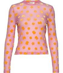 maya, 773 velvet devore t-shirts & tops long-sleeved roze stine goya