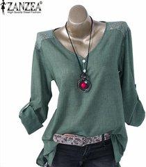 zanzea ocasional de las mujeres suelta el botón de arriba hacia abajo camisa de manga larga túnica de la blusa -verde