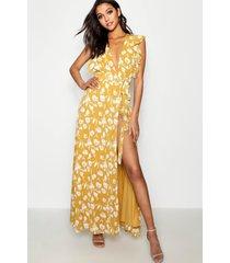 bloemenprint maxi wikkel jurk met franjes, geel