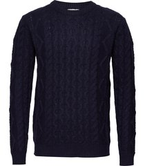 pigalle cable knit gebreide trui met ronde kraag blauw les deux