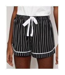 short de pijama feminino listrado com vivo contrastante e laço preto
