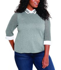 belldini plus size rhinestone collared pullover sweater