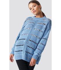 mango open work-detail sweater - blue