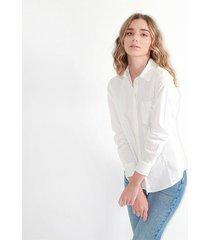 camisa para mujer manga larga, cuello v, botones frontales color-blanco-talla-s