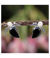 obsidian button earrings, 'turtle tales' (peru)