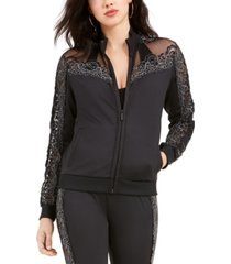 guess milo lace-trim zip-up jacket