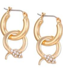 guess gold-tone crystal snake charm hoop earrings
