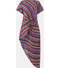 camicetta casual a maniche corte asimmetrica annodata con stampa etnica per donna