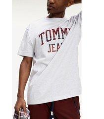 polera de algodón orgánico logo gris tommy jeans