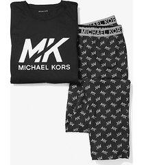 mk set pigiama in cotone con logo - nero (nero) - michael kors