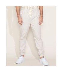 calça de sarja masculina jogger com cordão bege