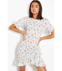 bloemenprint jurk met asymetrische geplooide zoom, blauw