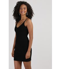 vestido bandagem feminino curto alça fina preto