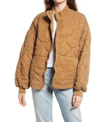 women's blanknyc quilted jacket, size large - brown