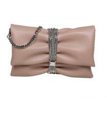 jimmy choo clutch in nappa with multichain bracelet