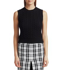 michael kors women's sleeveless cashmere cable-knit sweater - black - size s