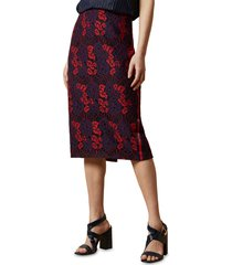 women's ted baker london zinniaa lace pencil skirt, size 4 - red