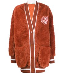 off-white embroidered logo furry varsity cardigan - orange