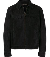 ajmone collared suede jacket - black