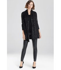 natori light weight knit sequin sweater, women's, black, size l natori
