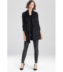 natori light weight knit sequin sweater, women's, black, size l natori