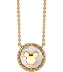 "disney mickey mouse mother-of-pearl pendant necklace in fine silver plated gold, 16"" + 2"" extender"