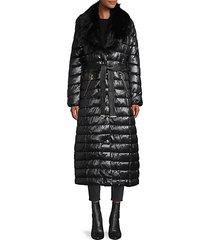 faux fur-trim wrap puffer coat