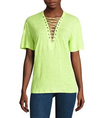 iro jeans women's imis lace-up tee - hot pink - size xs