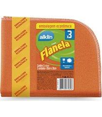 flanela para limpeza com 3 unidades laranja