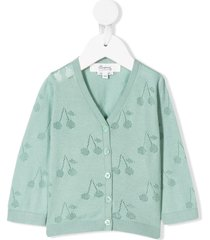 bonpoint cherry embroidered cardigan - green