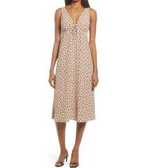 women's chelsea28 floral sleeveless midi dress, size large - beige