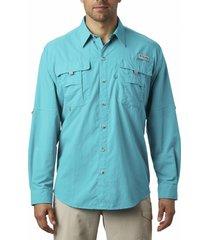 camisa hombre bahama ii manga larga turquesa columbia