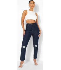 versleten high rise mom jeans, indigo