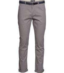 ams blauw stuart chino with belt in stretch peached quality chinos byxor grå scotch & soda