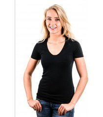 garage t-shirt ladies v-neck black ( art 0702)
