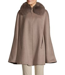 made for generation fox fur-trim cashmere & wool-blend cape