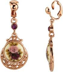 2028 rose gold tone purple crystal flower clip drop earrings