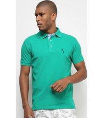 camisa polo aleatory piquet bordada masculina