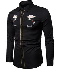 skull flower with cap embroidery long sleeve shirt